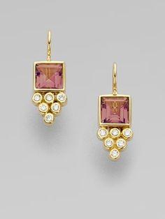 Temple St. Clair Pink Tourmaline, Diamond, & 18K Gold Earrings
