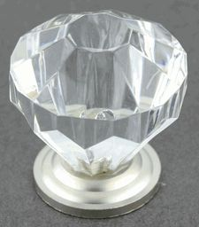 Diamond Clear Acrylic Knob  Satin Nickel Base