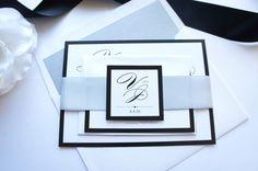 Black and Silver Wedding Invitation Wedding Invitation - SAMPLE SET