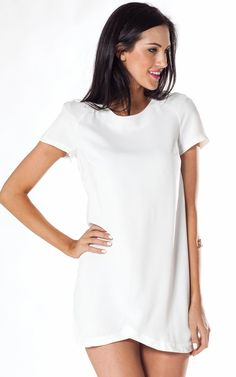 White Shift Dress #asymmetric #party #homecoming