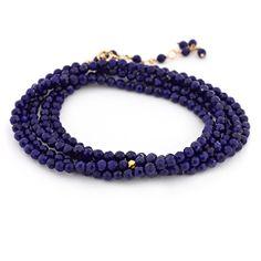 Anne Sportun blue lapis beaded wrap bracelet & necklace with Gold Hex Beads carefully handmade and personalized. Jewelry Art, Fine Jewelry, Jewelry Design, Women Jewelry, Jewellery, Beaded Wrap Bracelets, Beaded Necklace, Tassel Bracelet, Necklaces