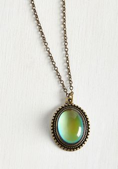 Aura You Ready? Mood Necklace - Green, Solid, Casual, Boho, Vintage Inspired, 70s, Work, Best Seller, Best Seller, Under 50 Gifts, Under 25 Gifts, Unique Gifts