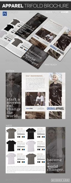 Clothing Apparel Trifold Brochure by ModernLion Clothing Apparel Trifold Brochure: Sleek and modern apparel/clothing trifold brochure. Well organized layers in Photoshop. Great f