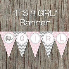 Its a Girl Baby Shower Banner Elephant от BumpAndBeyondDesigns