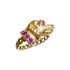 Victorian 18 Carat Spaniel Ring With Ruby Collar And Eyes With