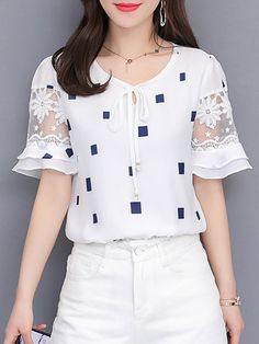 Round Neck Lace Up Patchwork Checkered Blouses - Trendy Outfits Modest Fashion, Fashion Outfits, Womens Fashion, Fashion Trends, Fashion Styles, Fashion Ideas, Trending Fashion, Fashion Pants, Chiffon Shirt