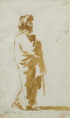 Giovanni Domenico Tiepolo (1727 Venice 1804), Standing Oriental man, wrapped in a cloak. Brush and brown ink. Signed lower left: Dom. Tiepolo. 25.5 x 15.7 cm. Framed