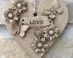 Your place to buy and sell all things handmade : Hand built ceramic hanging plaque For indoor or outdoor use Dimensions Clay Wall Art, Clay Art, Ceramic Pottery, Ceramic Art, Hand Built Pottery, Heart Crafts, Ceramics Projects, Clay Ornaments, Paperclay