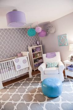girl nursery decorations gray purple white patterned accent wall