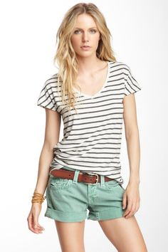 White with navy stripes v-neck with brown belt and green shorts - love everything about this.