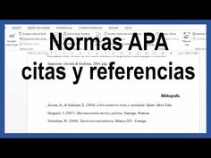 Word - Citas y referencias bibliográficas según normas APA última edición. Tutorial en español HD - YouTube