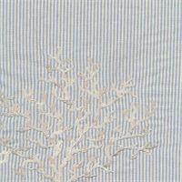 Shoreline #415 Capri Blue Stripe Embroidered Cotton Drapery Fabric by Braemore