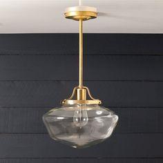 Brass Pendant Clear Glass Schoolhouse