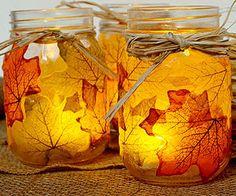 Leaf Mason Jar Candleholder: modge podge silk leaves to the outside
