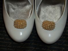 Vintage Gold and Pearl Bridal  Shoe Clips  set of by ShoeClipsOnly, $34.00