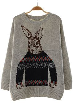 To find out about the Grey Batwing Long Sleeve Rabbit Print Sweater at SHEIN, part of our latest Sweaters ready to shop online today! Sweater Weather, Style Japonais, Cozy Sweaters, Ugly Sweater, Pulls, My Wardrobe, Just In Case, Christmas Sweaters, Holiday Sweater