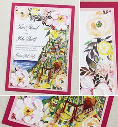 Pretty in pink!  Invite for a wedding planned in Positano.  #momentaldesigns  #kristyrice  #italywedding  #handpaintedinvite  #landscapeinvite  #watercolorwedding