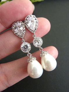 Wedding Earrings Bridal Earring White Teardrop by JCBridalJewelry, $39.95