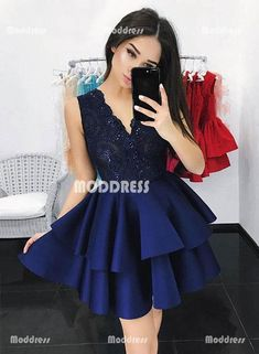 Navy Blue Homecoming Dress Hoco Dresses, Short Prom Dress, Back to School Party Dance Dress Dark Blue Homecoming Dresses, V Neck Prom Dresses, Dance Dresses, Dark Blue Dresses, Prom Gowns, Bridesmaid Dresses, Wedding Dresses, Winter Formal Dresses, Formal Evening Dresses