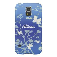 This sweet Samsung Galaxy S5 case features a modern design in blues and creams of butterflies fluttering around trees leaves and bushes in the summer evenings. Fully customizable with the name of your choice.