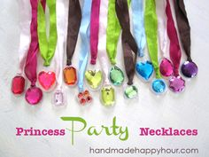 DIY Princess Necklaces for a Craft Birthday Party or use a Party Favors! by sadie Princess Crafts, Disney Princess Party, Princess Party Activities, Princess Birthday Party Games, Princess Party Favors, Jasmin Party, Surprise Parties, Sofia Party, 4th Birthday Parties