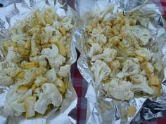 Vegan Camping Tin Foil Pouch Cauliflower and Yellow Summer Squash. I would add zucchini, bell peppers, etc. A little vegan butter and some seasonings