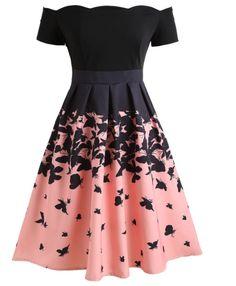 Vintage Dresses Butterflies Printed Off Shoulder Retro Dress - BLACK Cute Prom Dresses, Dance Dresses, Pretty Dresses, Beautiful Dresses, Short Dresses, Cheap Dresses, Elegant Dresses, Sexy Dresses, Summer Dresses