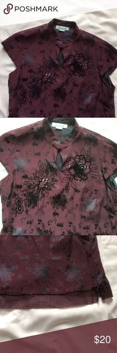 "MONSOON UK lovely plum color party top Gorgeous plum clover sequence top. Great condition. Chinese collar. My favorite  20"" long Pit to pit 41"" 55% silk 45% viscous Monsoon Tops Blouses"