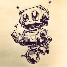 robot robots drawing drawings easy simple tattoo cool 3d cartoon illustration box 1000 really sketches discover biomech