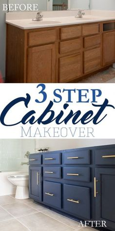 For master bath 3 step bathroom vanity makeover. Yes, this blue vanity cabinet took only 3 simple steps to go from builder grader to wow! Blue Bathroom Vanity, Blue Vanity, Bathroom Vanity Makeover, Bathroom Sinks, Budget Bathroom, Bathroom Modern, Minimalist Bathroom, Plum Bathroom, Bird Bathroom