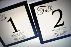 Wedding Table Numbers!