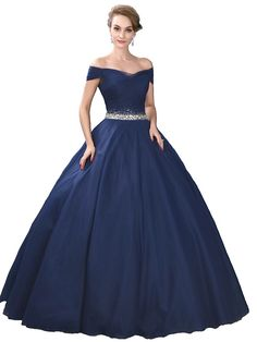 Ball Gown Off-the-shoulder Floor Length Satin Tulle Stretch Satin Formal Evening Dress with Crystal Detailing by SG Robes Quinceanera, Cheap Quinceanera Dresses, Sweet 16 Dresses, Pretty Dresses, Beautiful Dresses, Formal Evening Dresses, Formal Gowns, Evening Gowns, Blue Ball Gowns