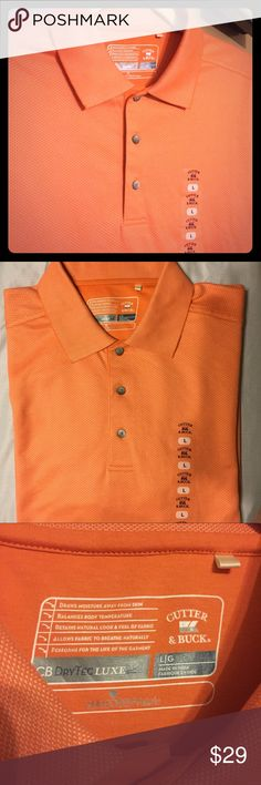 New Cutter & Buck Dry Tech Luxe Golf polo Lg New with tags. Close up picture shows orange color and geometric print. Size Lg. Cutter & Buck Shirts Polos