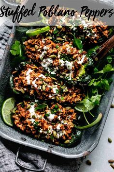 Stuffed Poblano Peppers loaded with a mixture of beef & rice and topped with a zesty lime-crema. This healthy recipe will be on your table in 30 minutes.