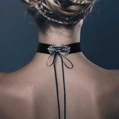 GLORIA. Velvet Corset Choker - Black