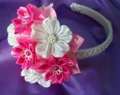 Handcrafted pink Floral Headband por AccessoriesShop4you en Etsy