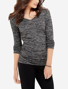 Shirred V-Neck Sweater   Women's Tops & Tees   THE LIMITED