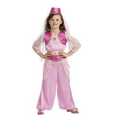 DisfracesMimo, disfraz de princesa arabe rosa niña infantil varias tallas. Todos caerán rendidos a tus pies y serás el centro de atención cuando bailes la danza del vientre en Fiestas Temáticas, Festivales Escolares o cabalgatas de reyes.