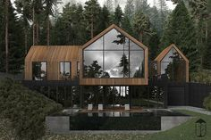 Forest House is a contemporary style house, erected on mountain side. Due to the natural materials such as stone and wood the house is made of, it perfectly fits into the surrounding, becoming its inseparable part. Dream Home Design, Modern House Design, Custom Home Builders, Custom Homes, Contemporary Style Homes, Contemporary Decor, Forest House, Dream House Exterior, Home Fashion