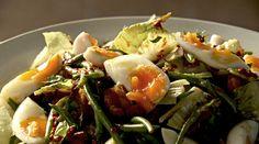 Ottolenghi - Recipes - Mackerel and green bean salad with harissa dressing Egg Recipes, Fish Recipes, Salad Recipes, Cooking Recipes, Healthy Recipes, Healthy Gourmet, Chef Recipes, Cooking Tips, Ottolenghi Salad