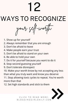 12 Ways To Recognize Your Self Worth | Knowing Your Worth & Loving Yourself | Relationships & Love