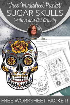 Fall Sugar Skulls Art Activity - Classroom Freebies These FREE worksheets teach students about The Day of the Dead and Sugar Skulls. Halloween Kunst, Halloween Art Projects, Fall Art Projects, School Art Projects, Halloween Halloween, Vintage Halloween, Halloween Makeup, Halloween Costumes, High School Art