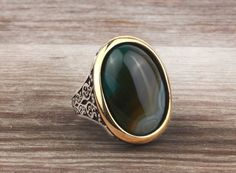 925 K Sterling Silver Gemstone Man Ring With Agate (All Sizes) #istanbulJewelry #Statement