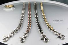 Cadenas Modelo MECHANIC. Resistentes y originales. Puedes elegir entre 4 modelos diferentes realizados en acero inoxidable, acero negro, cobre y latón. Largo: 50 cm. Incluyen 2 mosquetones. Ya disponible en www.metalyeah.com