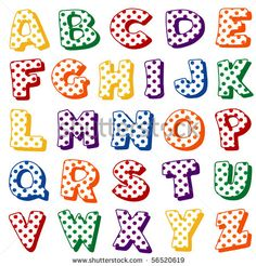 alphabet polka dots original letter design in multi color polka dots on a white background for scrapbooks albums crafts back to school projects