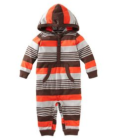 Tea Collection Storm Gray Stripe Bund Hooded Henley Playsuit - Infant by Tea Collection #zulily #zulilyfinds