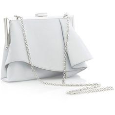 Coast Rae Ruffle Clutch Bag , Silver (345 HRK) ❤ liked on Polyvore featuring bags, handbags, clutches, silver evening purse, man bag, white handbags, special occasion clutches and white clutches