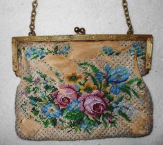 Vintage Multicolor Floral Roses Beaded Purse with  Frame for Repair