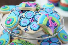 Colorful peacock cookies