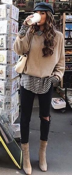 casual outfits for work / casual outfits . casual outfits for winter . casual outfits for women . casual outfits for work . casual outfits for school . Street Style Outfits, Mode Outfits, Gray Outfits, Outfits 2016, Look Fashion, Trendy Fashion, Womens Fashion, Trendy Style, Fashion Clothes